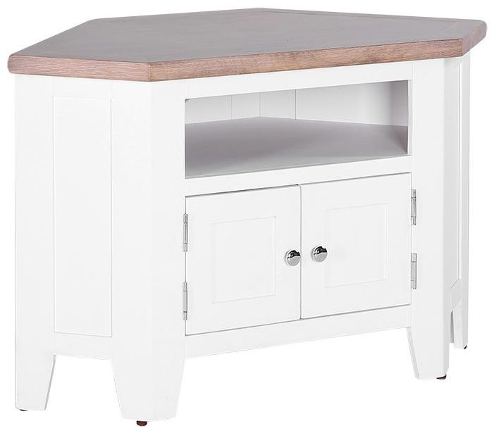 Chalked Oak and Pure White 2 Door 90 Degree Corner TV Unit