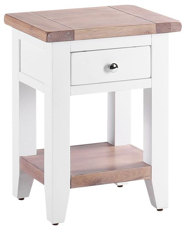 Chalked Oak and Pure White 1 Drawer Bedside Table