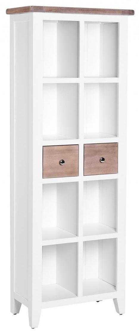 Chalked Oak and Pure White Bookcase - 2 Drawer