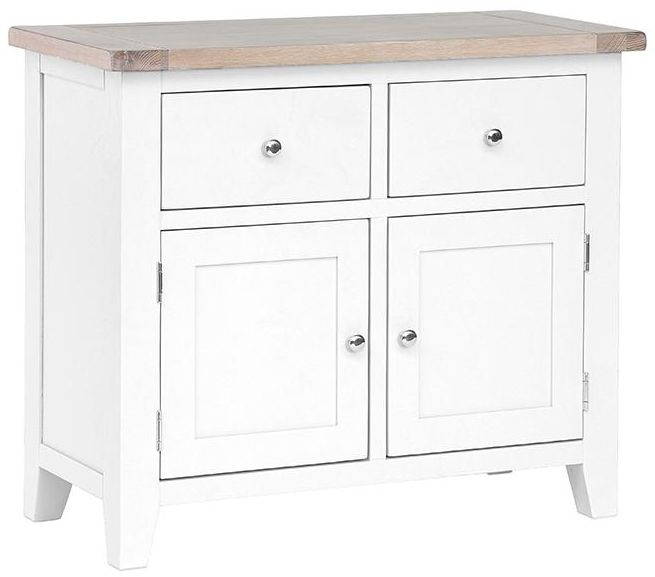 Chalked Oak and Pure White 2 Door 2 Drawer Small Narrow Sideboard