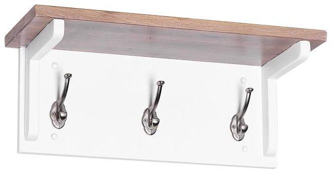 Chalked Oak and Pure White 3 Hooks Coat Rack