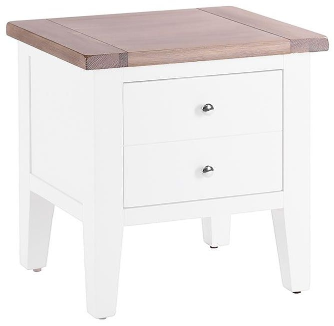 Chalked Oak and Pure White 1 Drawer Lamp Table