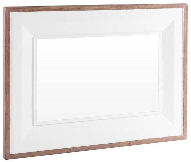 Chalked Oak and Pure White Rectangular Mirror