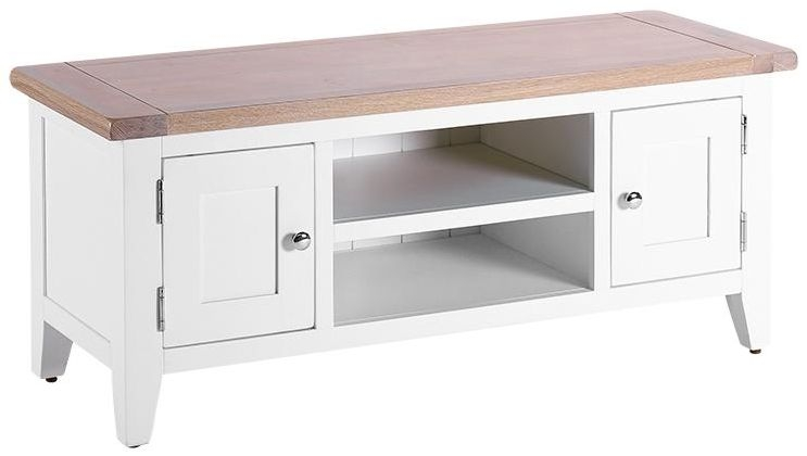 Chalked Oak and Pure White TV Unit - 2 Door 1 Shelf
