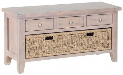 Chalked Oak Storage Bench - 3 Drawer with Basket Drawer