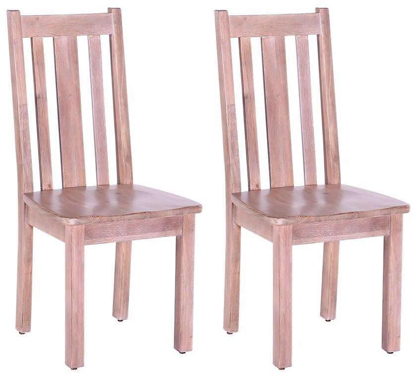Chalked Oak Dining Chair (Pair) - Vertical Slats with Timber Seat