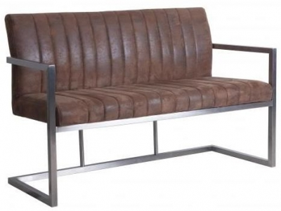 Brown Suedette Fabric Bench