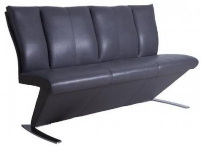 Mid Grey Faux Leather Bench