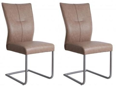 Beige Faux Leather Dining Chair (Pair)