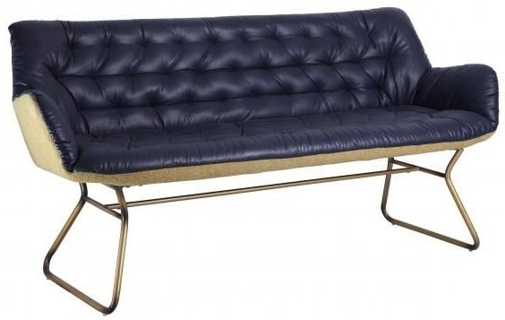 Blue Faux Leather Studded Sofa with Golden Legs