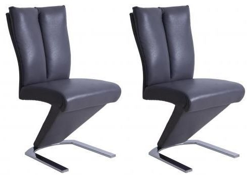Mid Grey Faux Leather Dining Chair (Pair)