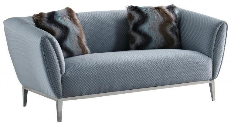 Grey Circle Stich 2 Seater Fabric Sofa