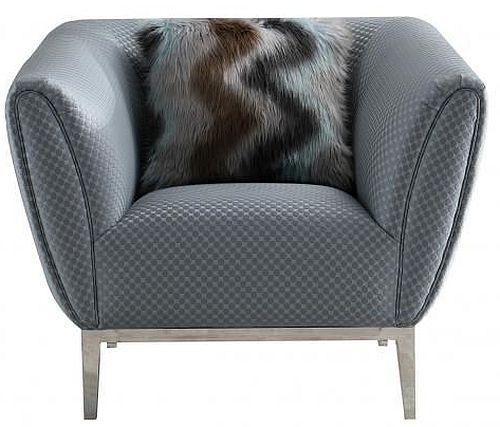 Grey Circle Stich Fabric Chair