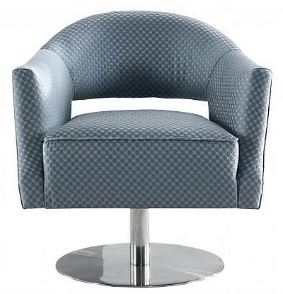 Grey Circle Stich Swivel Fabric Chair