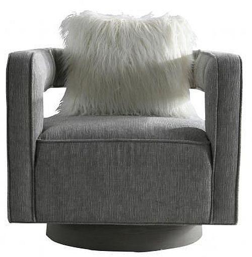Grey Fabric Armchair with Cushion