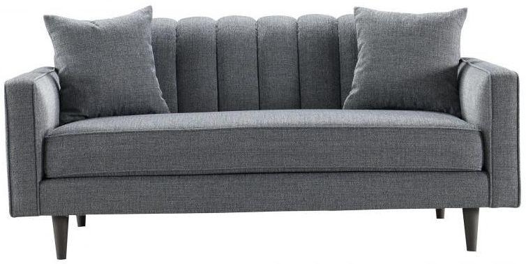 Grey Ribbed 2 Seater Fabric Sofa