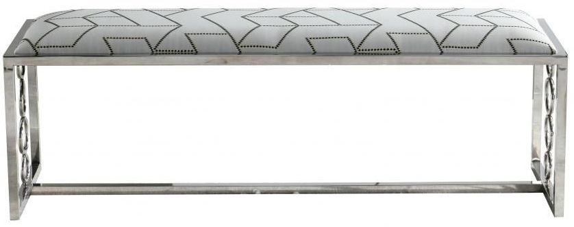 Upholstered Bench - Fabric and Chrome