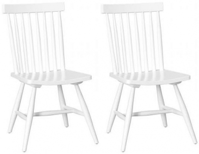 Danish Retro Dining Chair with Vertical Slats - White (Pair)