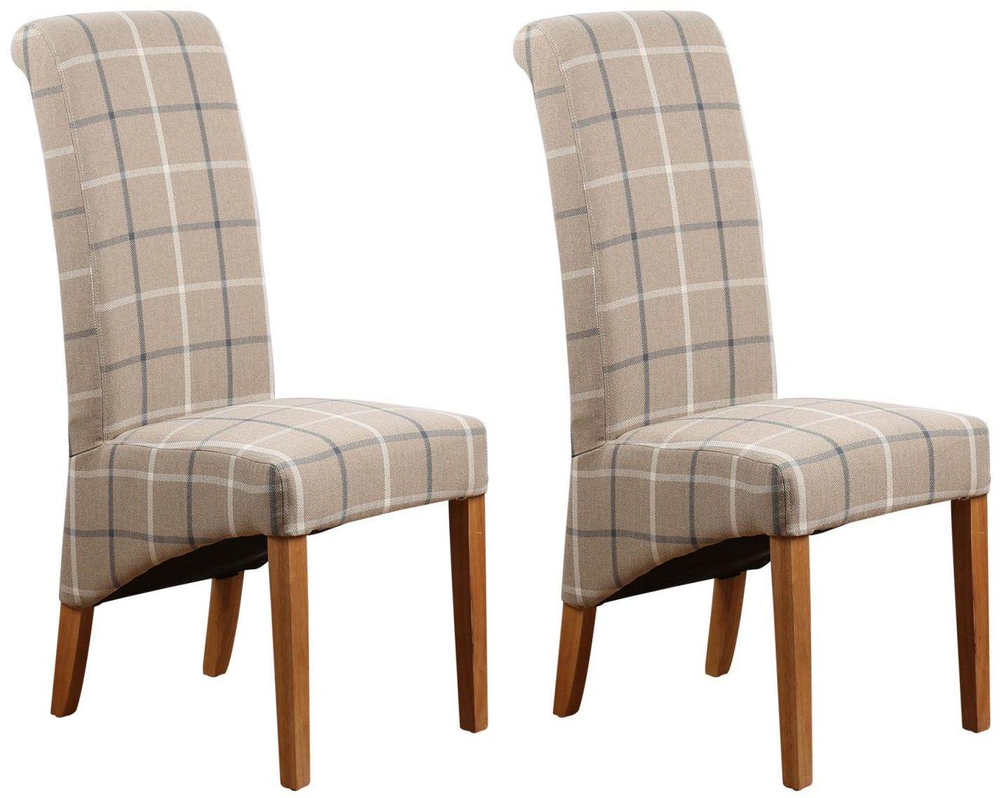Mull latte fabric dining chair pair