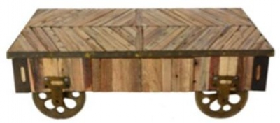 Doors Reclaimed Wooden Coffee Table with Wheels and Decorative Top