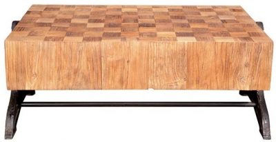 Doors Reclaimed Wooden Low Coffee Table with Chunky Mosaic Top and Metal Base