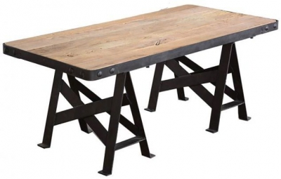 Doors Reclaimed Wooden and Metal Coffee Table with Cross Detail Legs