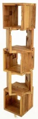 Doors Reclaimed Wooden and Metal Cuboid Shelf Unit