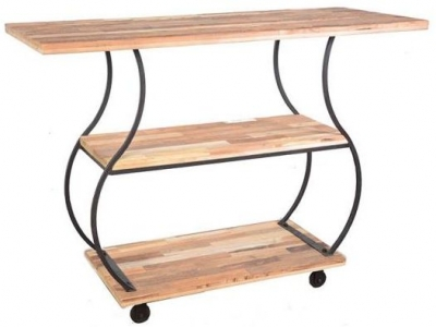 Doors Reclaimed Wooden and Metal Curved Open Shelf Unit