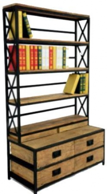 Doors Reclaimed Wooden and Metal Open Bookshelf with Drawers