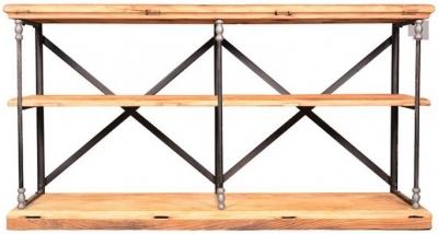 Doors Reclaimed Wooden and Metal Open Shelf Unit
