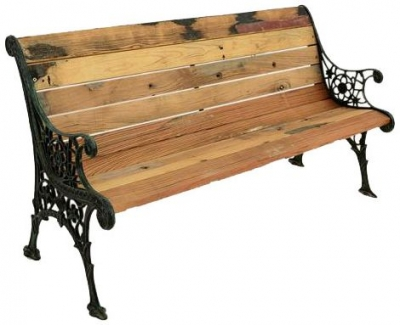 Doors Reclaimed Wooden and Metal Ornate Detail Bench with Backrest