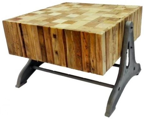 Doors Reclaimed Wooden Coffee Table with Chunky Top and Metal Base