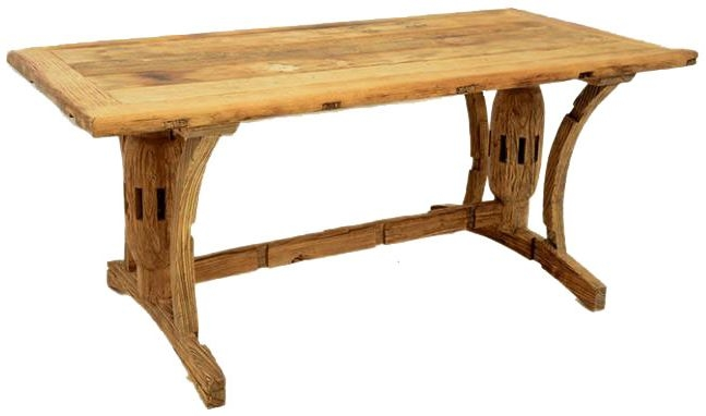 Doors Reclaimed Wooden Dining Table - Trestle