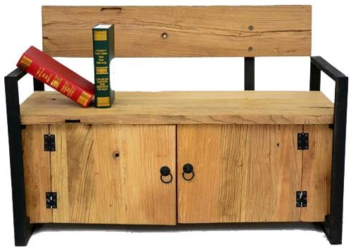 Doors Reclaimed Wooden and Metal Bench with Storage