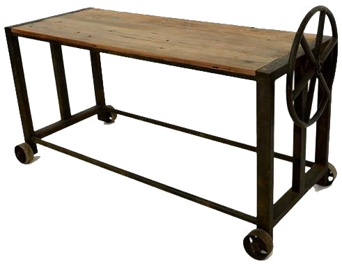 Doors Reclaimed Wooden and Metal Console Table with Wheels