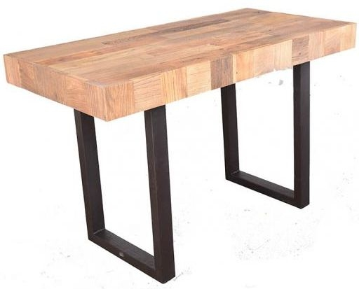 Doors Reclaimed Wooden and Metal Dining Table with Abstract Top and Metal Legs - Medium