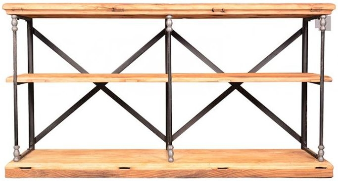 Doors Reclaimed Wooden and Metal Open Shelf Unit