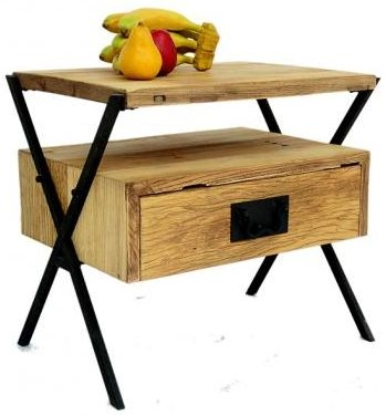 Doors Reclaimed Wooden and Metal Side Table with Suspended Drawer