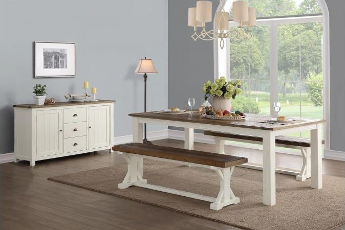 Driftwood Painted Dining Set with 2 Benches