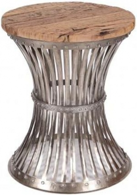 Caged Metal Round Side Table