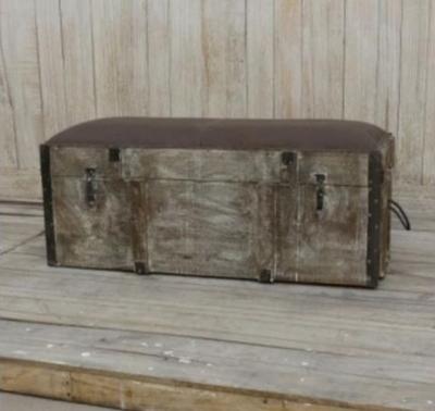 Brushed Buffalo Leather Storage Trunk Bench