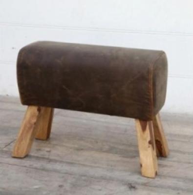 Brushed Buffalo Leather Pommel Medium Stool