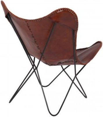 Iron and Leather Butterfly Chair