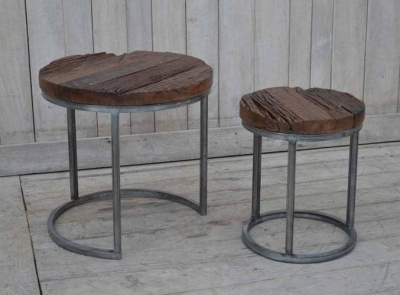 Nest of 2 Round Large Side Tables