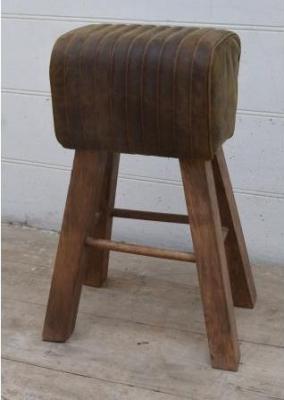 Tall Brushed Buffalo Leather Pommel Horse Stool