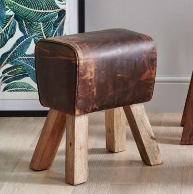 Brushed Buffalo Leather Pommel Small Stool