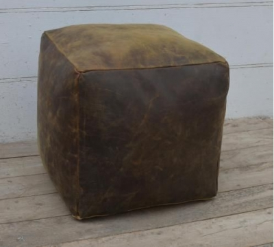Square Brushed Buffalo Leather Pouffe