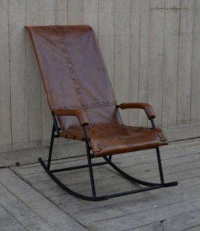 Brushed Buffalo Leather Rocking Chair