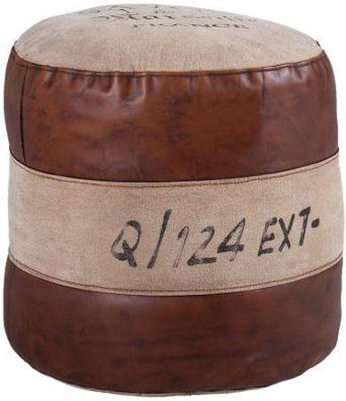 Leather and Fabric Savon Round Pouffe