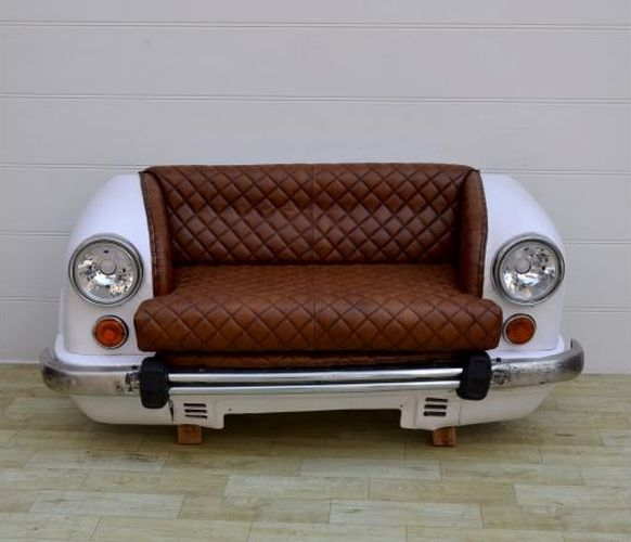 Upcycled Ambassador Sofa with Quited Leather Seat